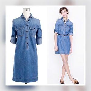 J. Crew Chambray Popover Denim Shirt Dress Size L